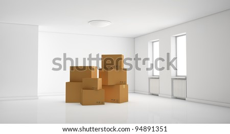 one empty room with a stack of cartons (3d render) - stock photo
