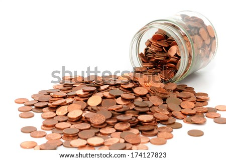 One Euro-cent coins in - stock photo