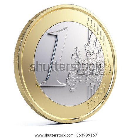 One euro coin isolated on white - stock photo