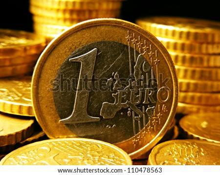One euro coin. Money concept. - stock photo