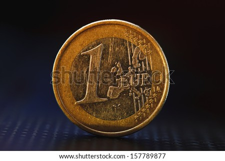One euro coin on black background  - stock photo