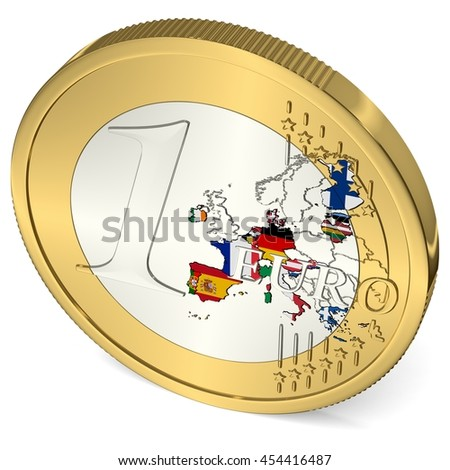 One Euro Coin with Euro Area in Flag Colors - 3d-Illustration - stock photo