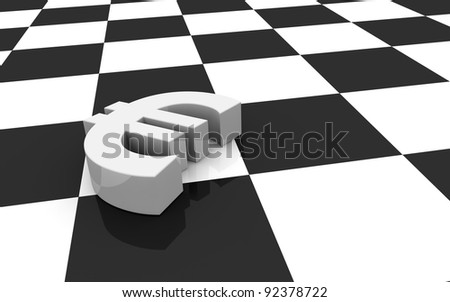 one euro symbol and a chessboard; concept of challenge (3d render) - stock photo