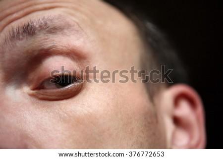 one eye of man close up - stock photo