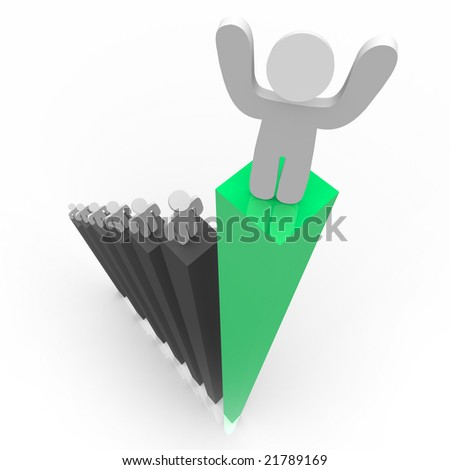 One figure stands atop the highest bar in a graph - stock photo