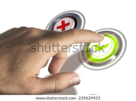 One finger pressing a green validation button, image concept of approval. - stock photo
