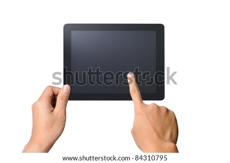 one finger touches the screen touchpad pc, isolated on white background - stock photo
