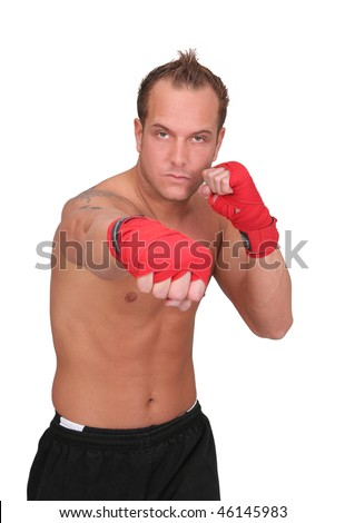one fit man boxing with red gloves half length portrait isolated over white - stock photo