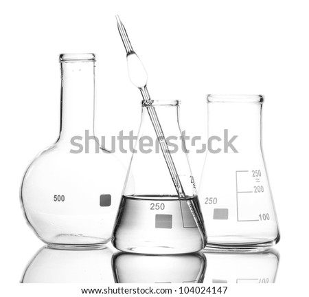 One flask with water and two empty flasks with reflection isolated on white - stock photo