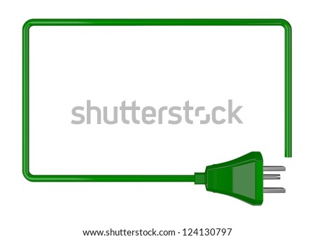 one frame made with a cable and an electric plug (3d render) - stock photo