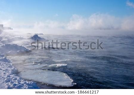 One Freezing Siberian Lake - stock photo