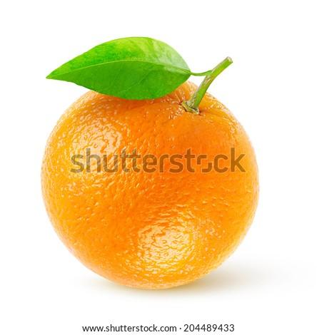 One fresh orange isolated on white - stock photo