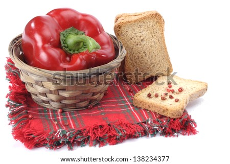 One fresh red pepper close up on white background - stock photo