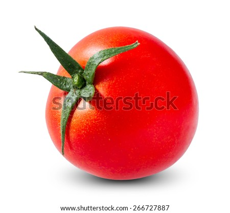 One Fresh Red Tomato isolated on white background. - stock photo