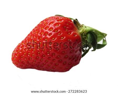 One fresh strawberry on white - stock photo