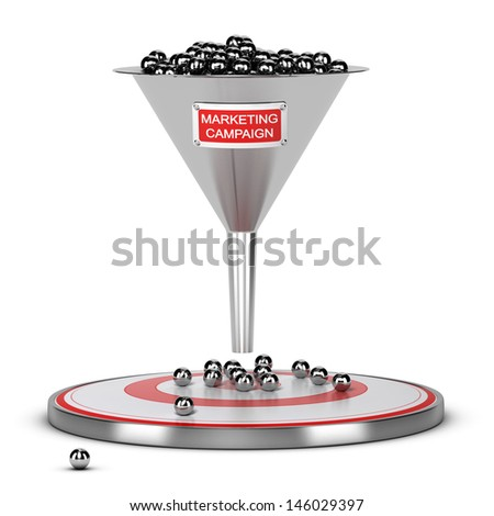 One funnel with a white and red sign and a target on the floor - Abstract schematic 3D render concept image suitable for conceptual illustration of a marketing campaign or marketing audience. - stock photo