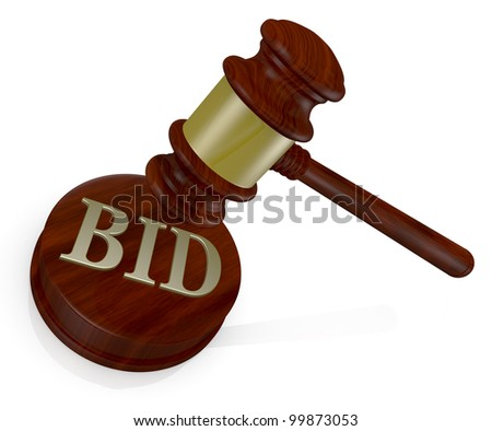 one gavel, like those used on auctioning with the word bid (3d render) - stock photo