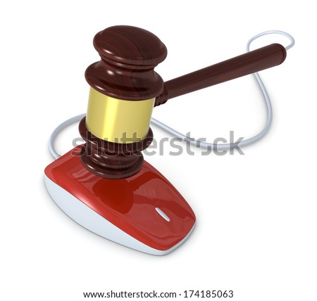 one gavel with a mouse, concept of online auction (3d render) - stock photo