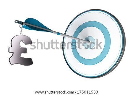 One gbp symbol fixed on an arrow. Conceptual image suitable for financial investment in UK, asset management or financial advisory. - stock photo