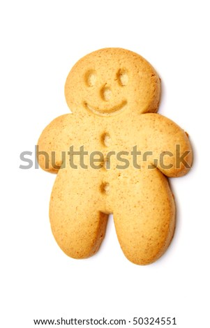 one gingerbread man isolated on white - stock photo