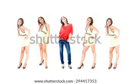 One Girl Team Lifestyle Concept  - stock photo