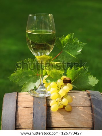 One glass of white wine and green leaves of the grape on the wine barrel. Close up - stock photo