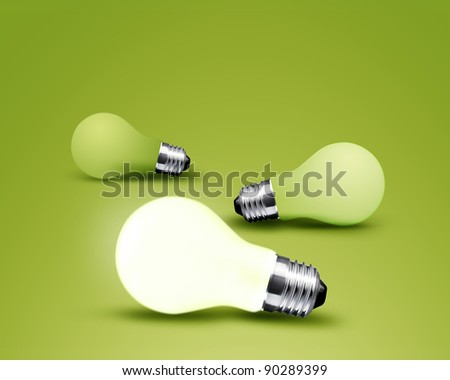 one glowing Light bulb from three Light bulb idea on green background - stock photo