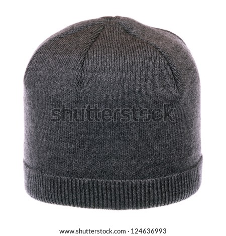 One gray knit hat isolated on white background - stock photo