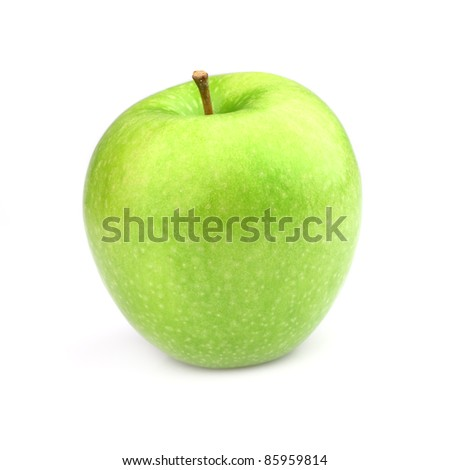 One green apple on a white background - stock photo