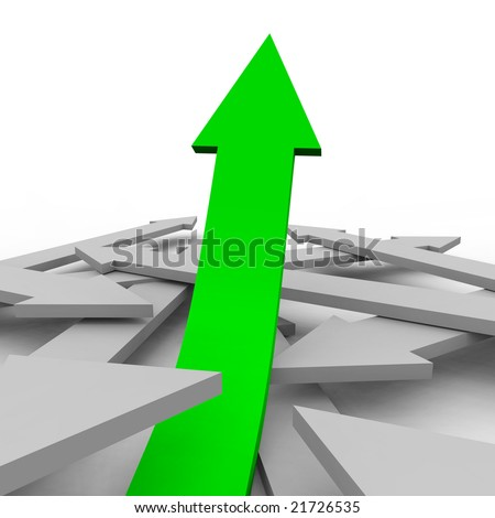 One green arrow rises from a group of gray arrows, symbolizing unique growth - stock photo