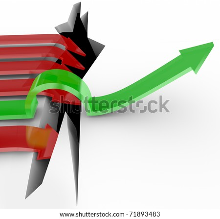 One green arrow succeeds in jumping over a crack representing adversity while the competition succumbs to the shallenge and falls in, symbolizing failure - stock photo
