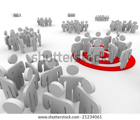 One group is targeted for marketing outreach with a bulls-eye under the figures - stock photo