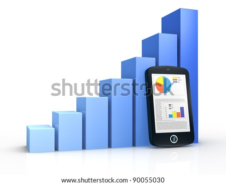 one growing bar chart and a portable device with financial data (3d render) - stock photo