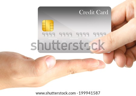 One hand grasp the blank template gray credit card and send to another one open hand as real trading situation on white background - stock photo