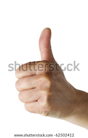 one hand with thumb up - stock photo