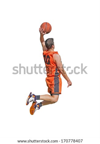 one-handed dunk on white background - stock photo