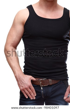 One handsome Caucasian muscular man in black t-shirt isolated on white background. - stock photo