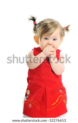 one happy  baby child isolated on white backgroundone cute baby isolated on white in red dress - stock photo