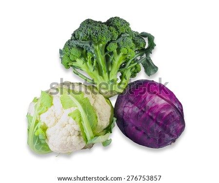 One head of broccoli, one head of red cabbage and one head of cauliflower on a light background. Isolation. - stock photo