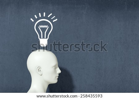 one head with a light bulb, concept of finding the solution (3d render) - stock photo