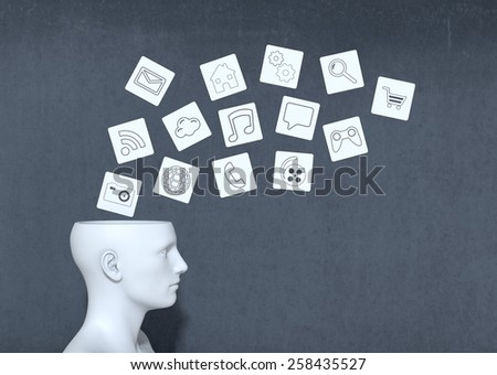 one head with lots of computer icons (3d render) - stock photo