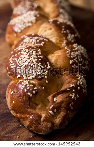 One home baked challah loaf for shabbat - stock photo
