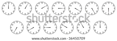 One hour passing on white background - stock photo