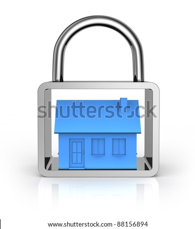 one house into a padlock (3d render) - stock photo