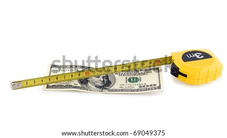 one hundred bill in US currency and tape measure isolated on white background - stock photo