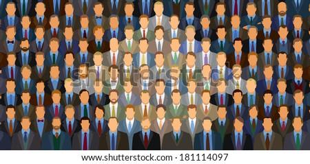 One Hundred Businessmen Arrow  - stock photo