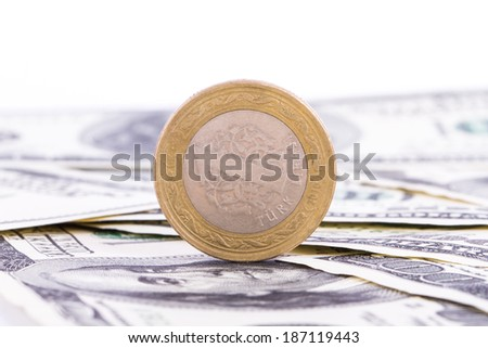 One hundred dollar banknotes and coin, isolated on white background. - stock photo