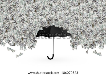 One hundred dollar banknotes flying and raining on black umbrella, isolated on white background. - stock photo