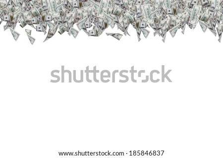 One hundred dollar banknotes flying on top border, isolated on white background. - stock photo