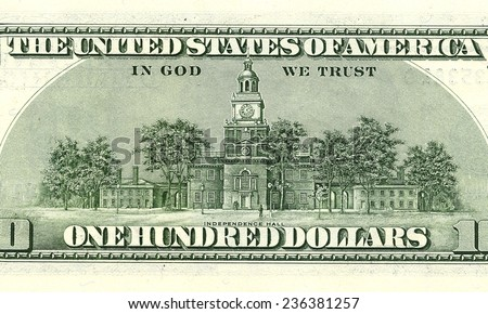 one hundred dollar bill macro turnover . Independence Hall on the back of one hundred dollar bills. - stock photo